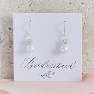 Pearl And Swarovski Glitterball Earrings