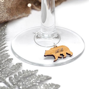 Set Of 10 Personalised Polar Bear Wine Glass Charm - glass charms