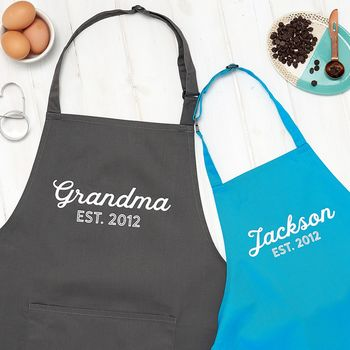 Personalised Grandma And Child Apron Set