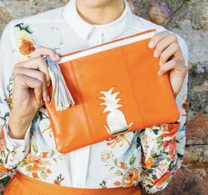 Orange Pineapple Clutch