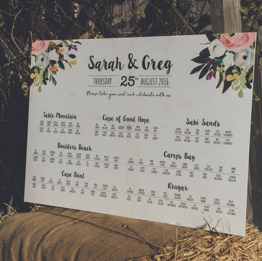 \'Bloom\' Wedding Table Seating Plan