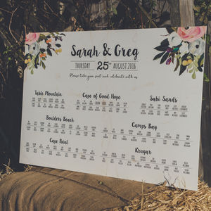 'Bloom' Wedding Table Seating Plan - table plans