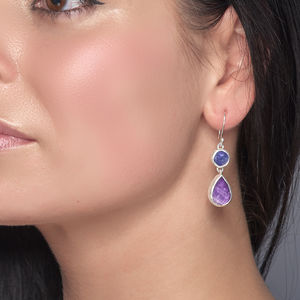 Amethyst And Tanzanite Gemstone Silver Ladies Earrings