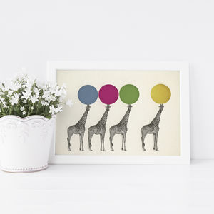 Balancing Act Retro Giraffe Print For Children - posters & prints