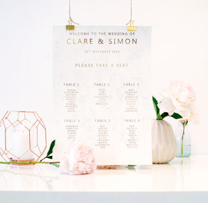 Marble And Gold Wedding Seating Plan Table Plan - winter styling