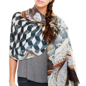 Womens Printed Cashmere Silk Scarf, Instrument - gifts for her