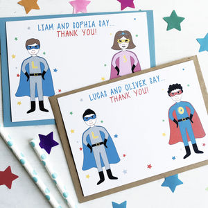 Twins Superhero Thank You Note Cards