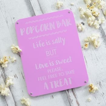 Popcorn Bar Wedding Reception Engraved Sign