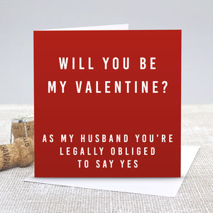 'Husband Be My Valentine' Valentine's Day Card