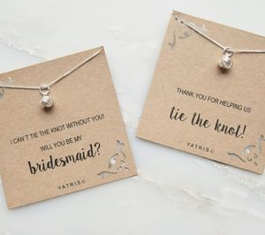 Tie The Knot Bridesmaid Silver Necklace Gift Box - bridesmaid gifts