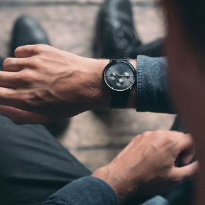 Gents Black Mesh Strap Pembrey Watch - watches