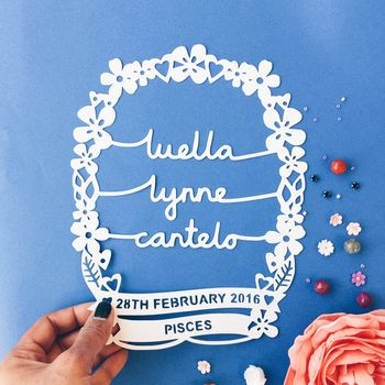 Personalised Baby Papercut Wall Art