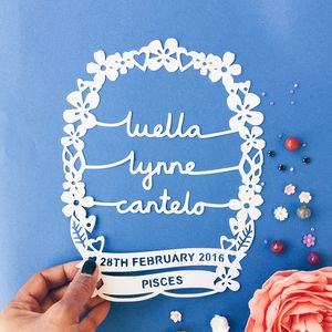 Personalised Baby Papercut Wall Art - baby's room