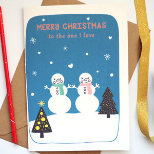 Snowman Couple Personalised Christmas Card