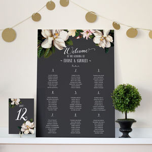 Black Magnolia Wedding Seating Chart