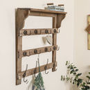 Farmhouse Wooden Wall Shelf With Hooks