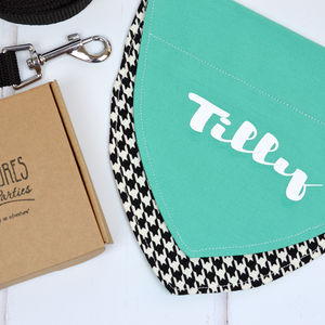 Personalised Dog Bandana Houndstooth And Turquoise - dogs