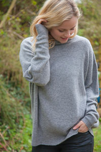 Cashmere Oversized Roll Neck Sweater With Ribbed Detail