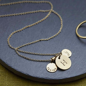 Personalised Baby Birth Charm Necklace - for new mums
