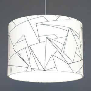 Flock Cracked Ice Inky Slate Fabric Lampshade