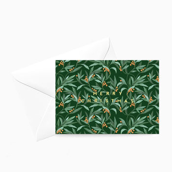 Vintage Green Berry 'Merry Christmas' Card