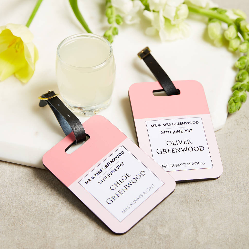 Personalised Luggage Tags Mr And Mrs Wedding Gift