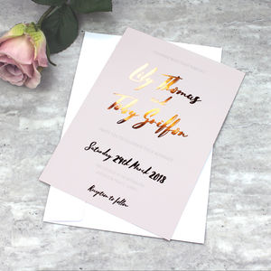 Copper And Blush Foil Wedding Invitation - save the date cards