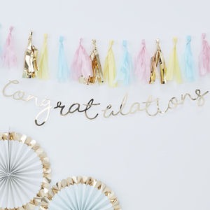 Gold Foiled Congratulations Backdrop Bunting