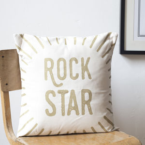 'Rock Star' Metallic Cushion Cover - bedroom