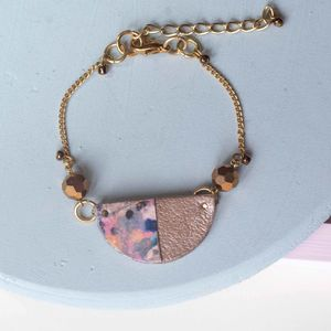 Galactic Marbled Leather Semi Circle Bracelet - bracelets & bangles