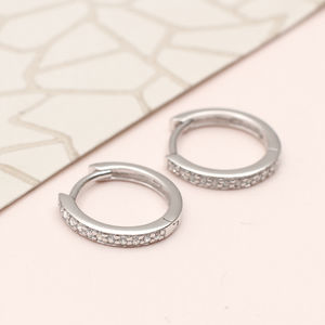 Sterling Silver And Crystal Huggie Hoop Earrings