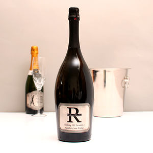Personalised Magnum Prosecco With Pewter Monogram Label