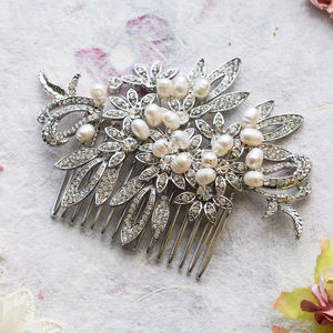 Daniela Crystal And Freshwater Pearl Hair Comb - bridal hairpieces