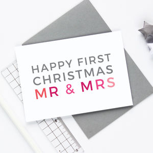 'Happy First Christmas' Couples Christmas Card - christmas sale