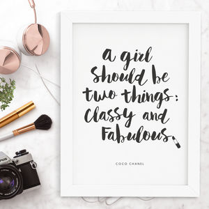 'Classy And Fabulous' Coco Chanel Quote - typography