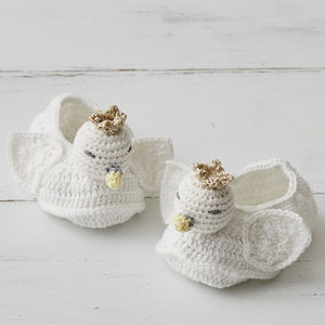Crochet Swan Baby Booties In Gift Box - gifts for babies