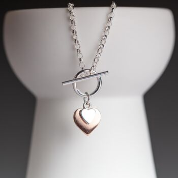 'Forever Hearts' Silver And Rose Gold Necklace