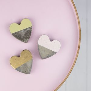 Colour Block Concrete Heart Decorations - home accessories