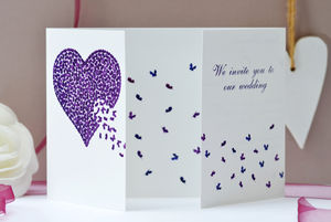 Wedding Butterfly Heart Invite