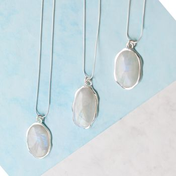 Sterling Silver Moonstone Statement Gemstone Necklace