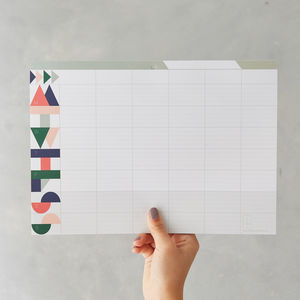 Geometric Weekly Planner Pad - winter sale