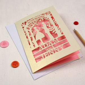 Personalised Papercut Couple Engagement Card - engagement cards