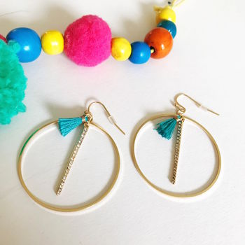 Circular Earrings With Tassel And Diamonte Bar