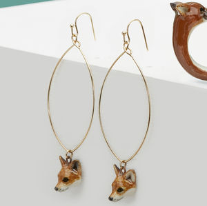 Oval Drop Fox Cub Earrings
