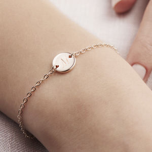 Personalised Initial Disc Bracelet - winter sale