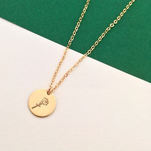 Botanical Gold Disc Necklace Rose