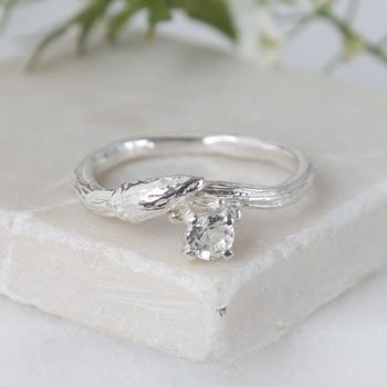 Silver Willow Twig Ring, Silver Engagement Ring
