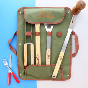 Personalised Bbq Set Including Tools And Embroidery - kitchen accessories