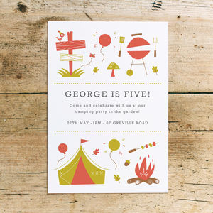 Camping Bbq Children's Birthday Party Invitations
