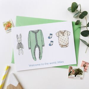 Personalised Green New Baby Clothes Card